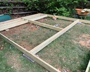 Treated wood shed founadtion in progress