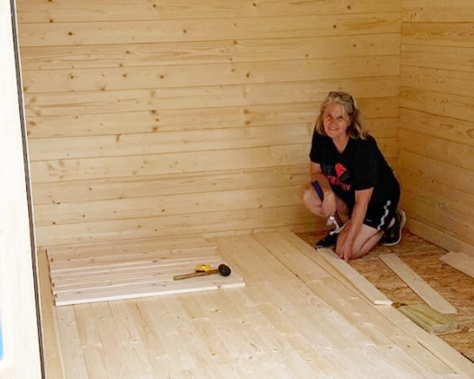 She Shed floor installation in progress