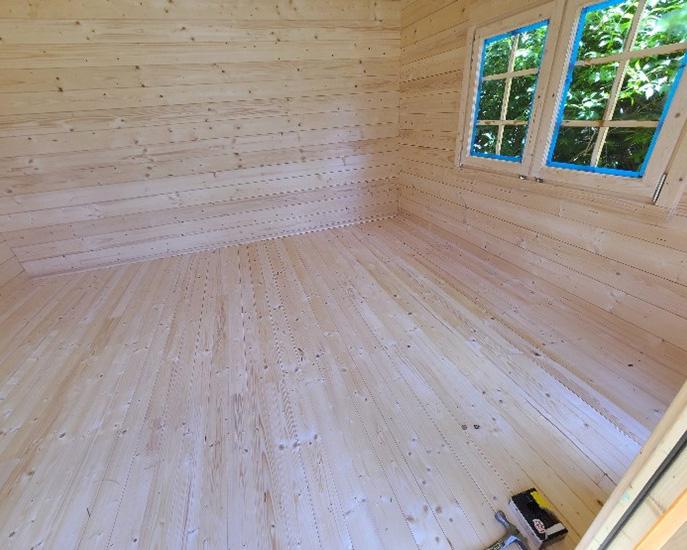 Wooden shed floor complete