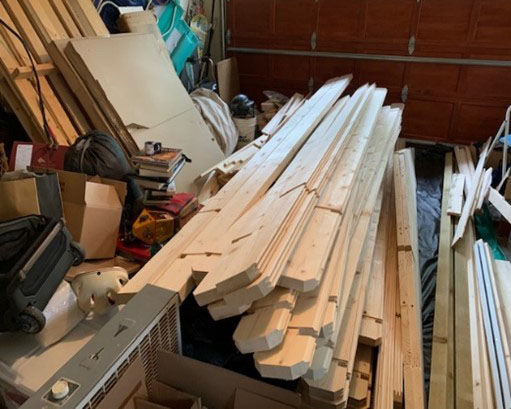 shed stacked for temporary storage